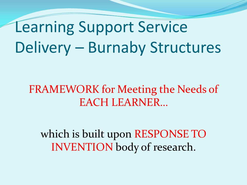 Learning Support Service Delivery – Burnaby Structures