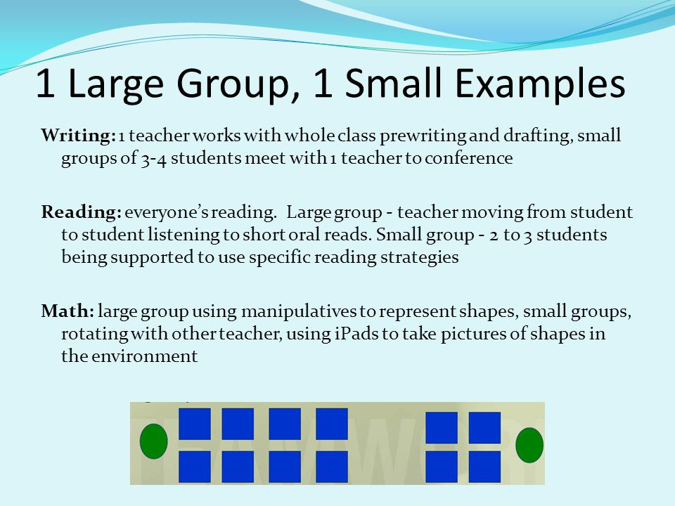 1 Large Group, 1 Small Examples