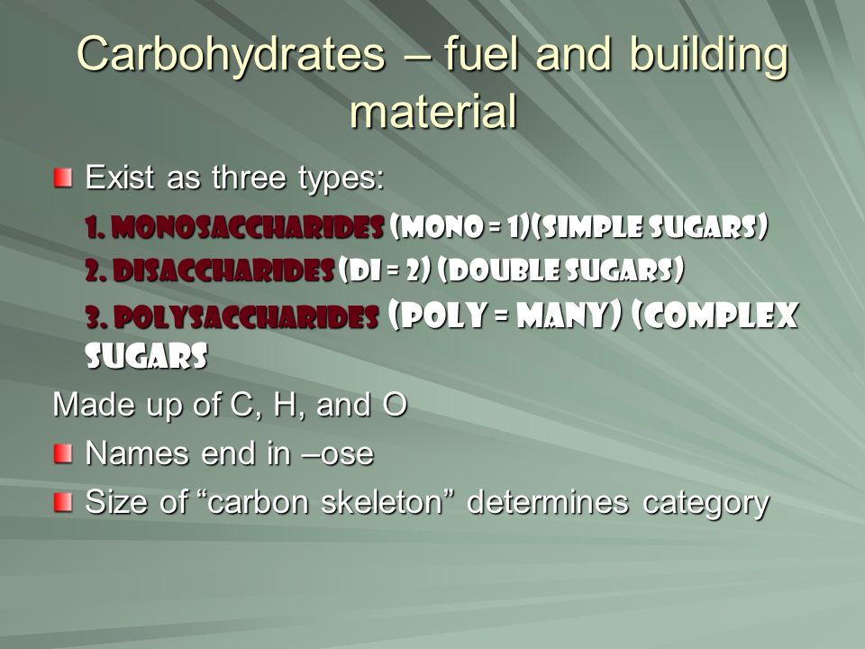 Carbohydrates – fuel and building material