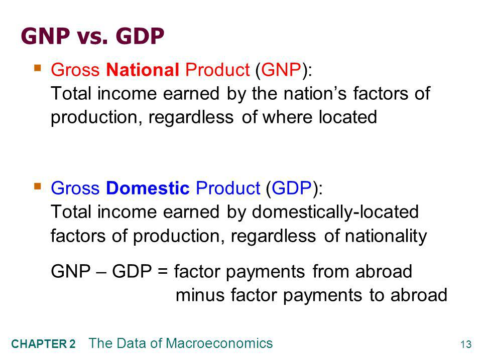Real vs. nominal GDP GDP is the value of all final goods and services produced. nominal GDP measures these values using current prices.