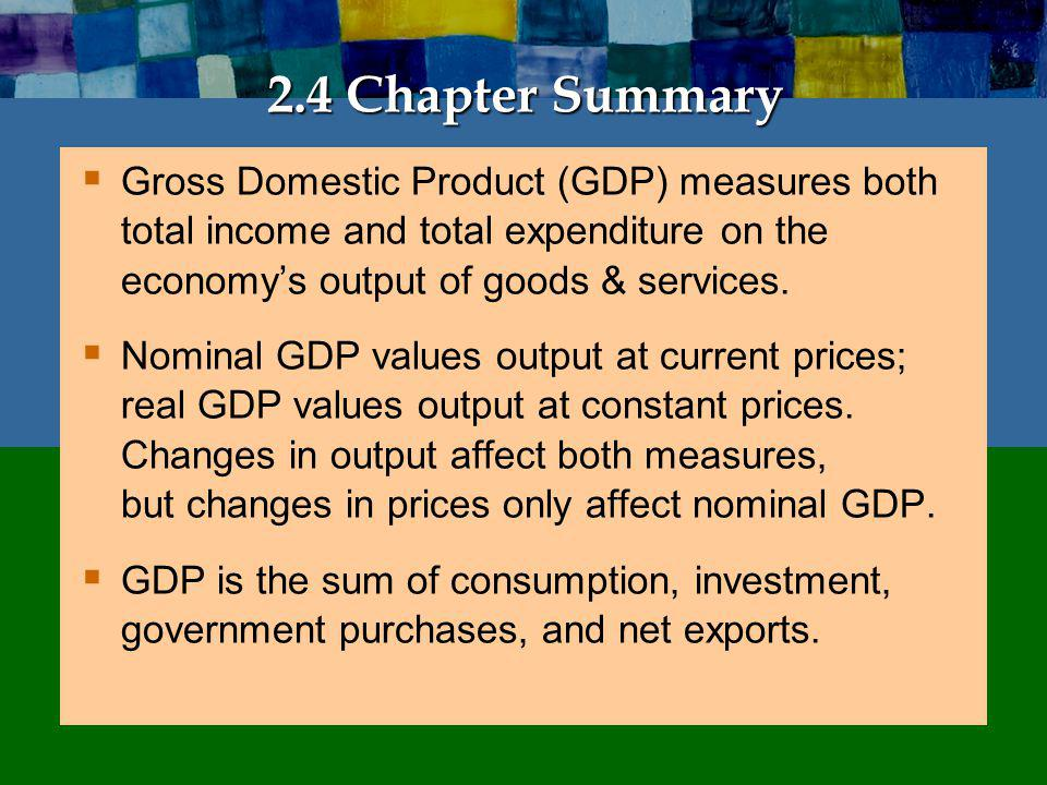 Chapter Summary The overall level of prices can be measured by either:
