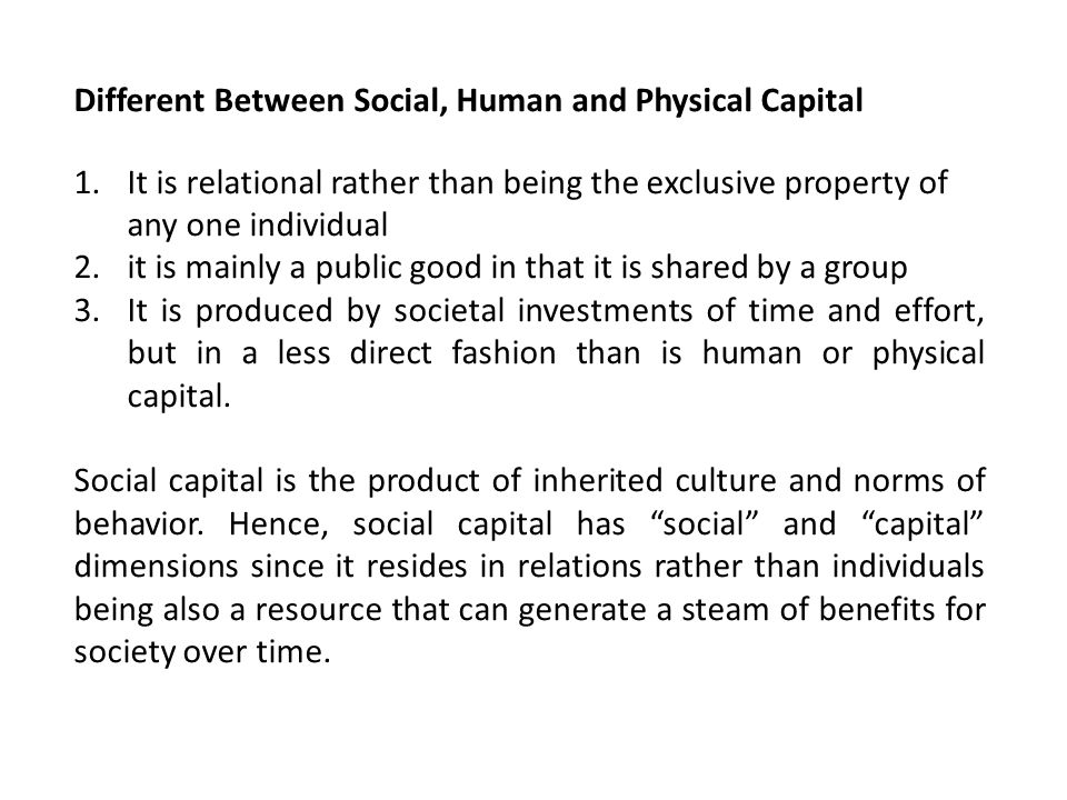 Different Between Social, Human and Physical Capital
