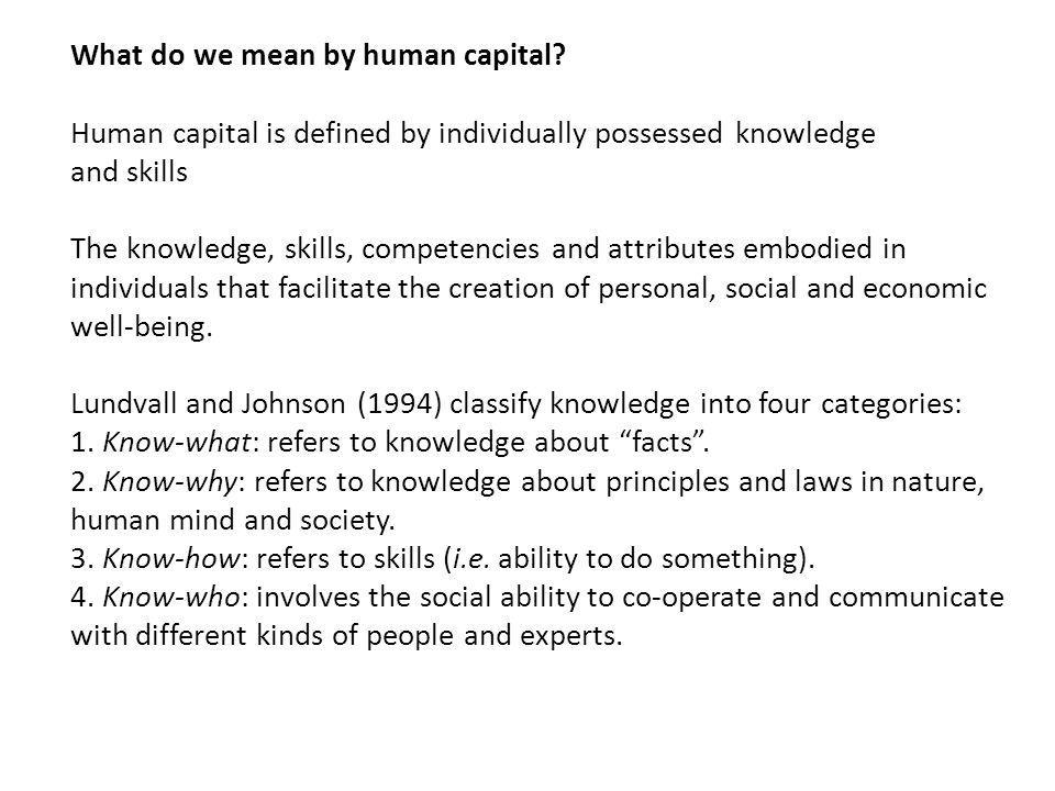 What do we mean by human capital