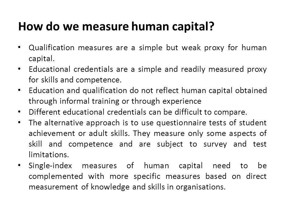 How do we measure human capital