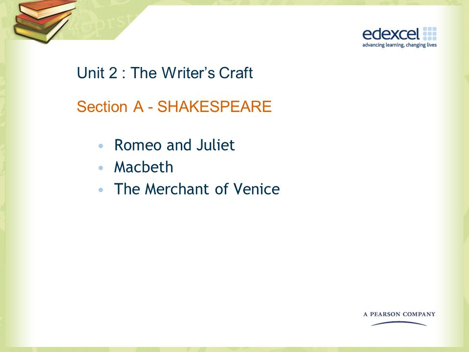 Unit 2 : The Writer's Craft Section A - SHAKESPEARE