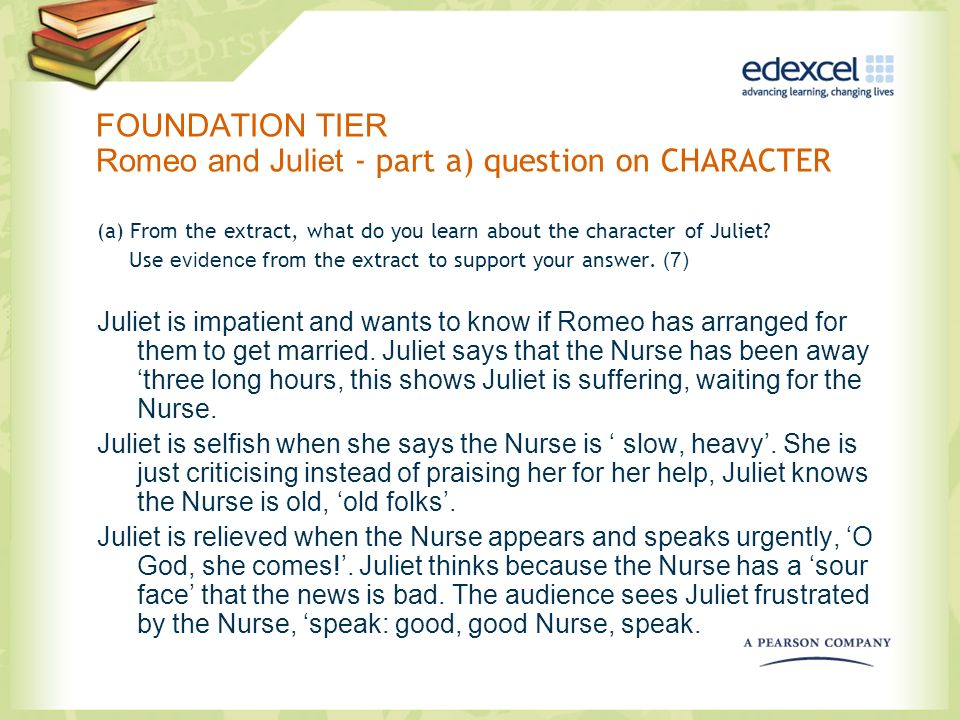 FOUNDATION TIER Romeo and Juliet - part a) question on CHARACTER