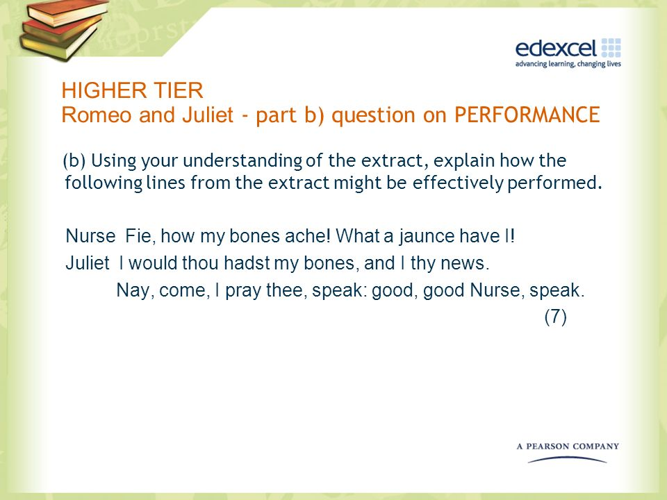 HIGHER TIER Romeo and Juliet - part b) question on PERFORMANCE