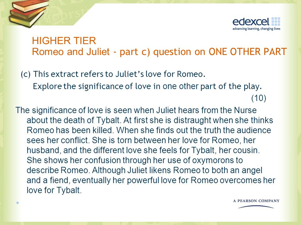 HIGHER TIER Romeo and Juliet - part c) question on ONE OTHER PART