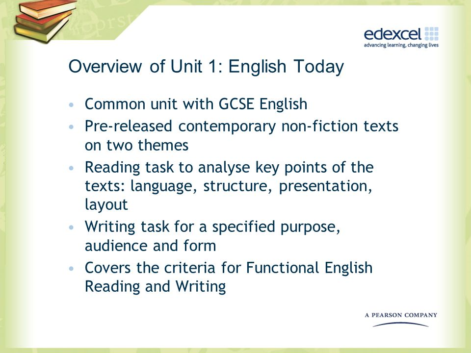 Overview of Unit 1: English Today