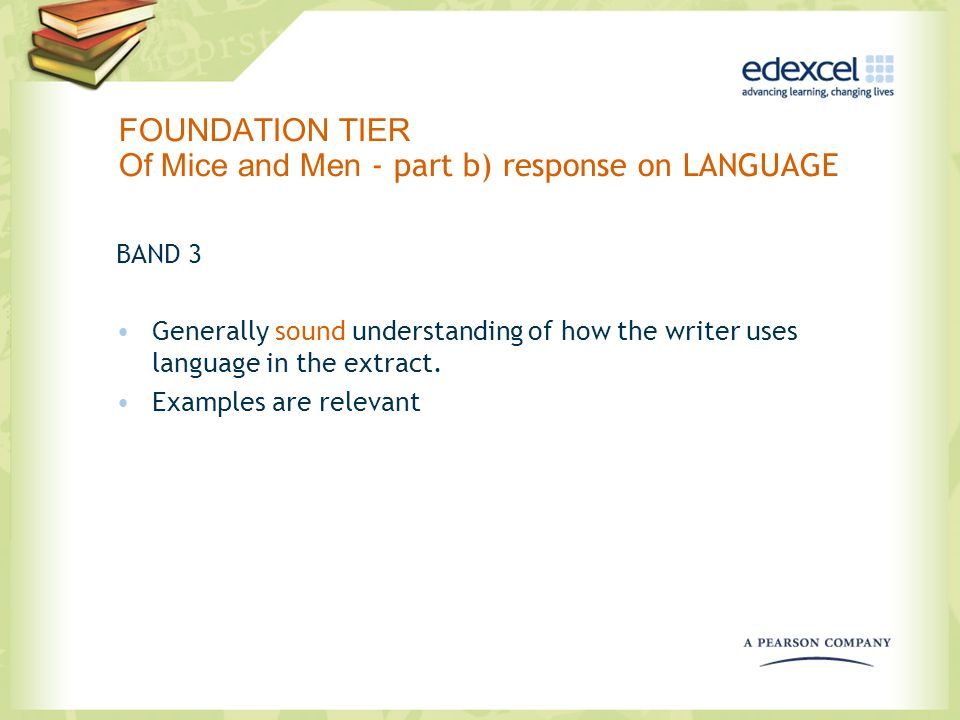 FOUNDATION TIER Of Mice and Men - part b) response on LANGUAGE