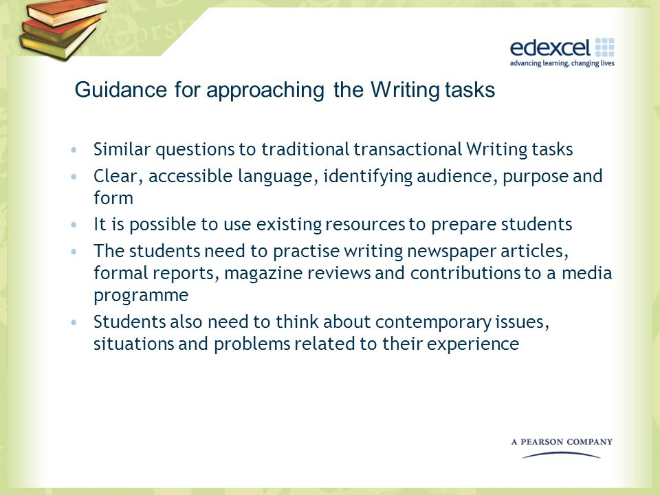 Guidance for approaching the Writing tasks