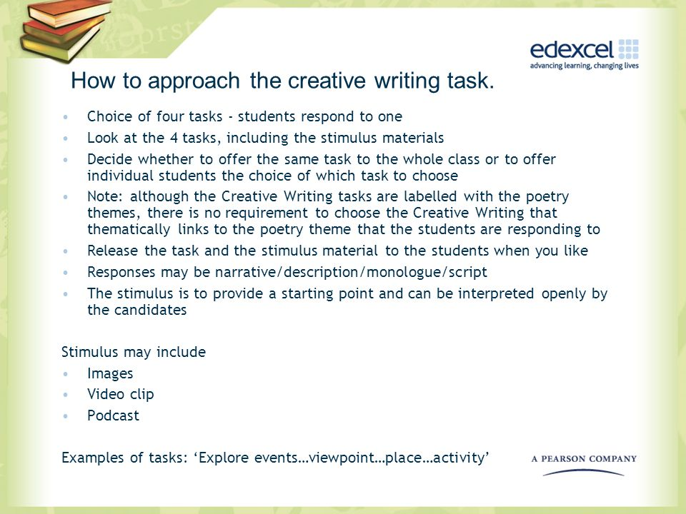 How to approach the creative writing task.