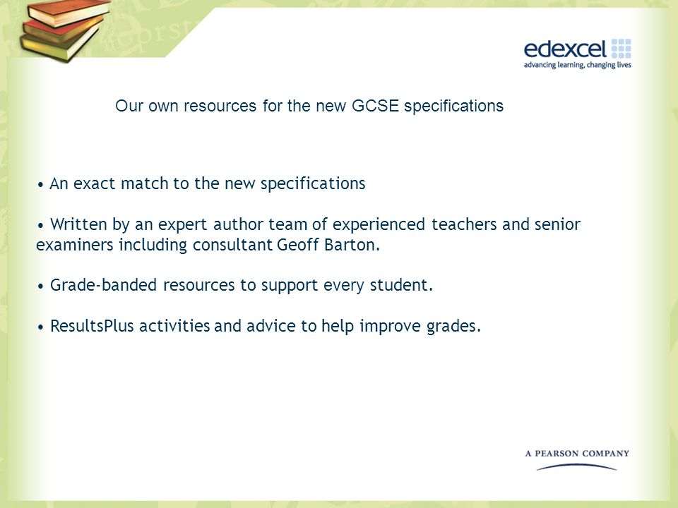 Our own resources for the new GCSE specifications