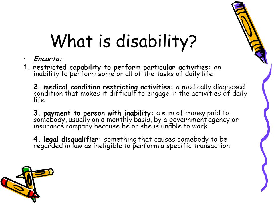 What is disability Encarta: