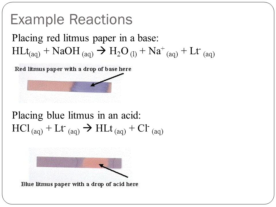 Example Reactions Placing red litmus paper in a base: