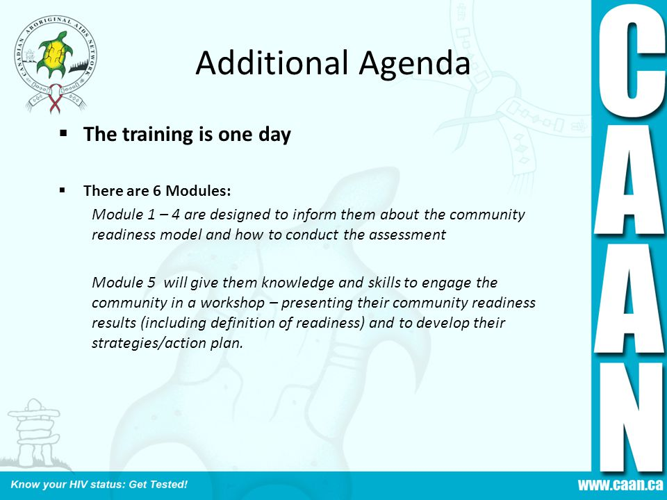 Additional Agenda The training is one day There are 6 Modules: