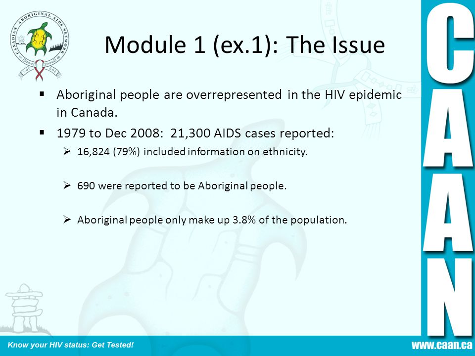 Module 1 (ex.1): The Issue Aboriginal people are overrepresented in the HIV epidemic in Canada. 1979 to Dec 2008: 21,300 AIDS cases reported: