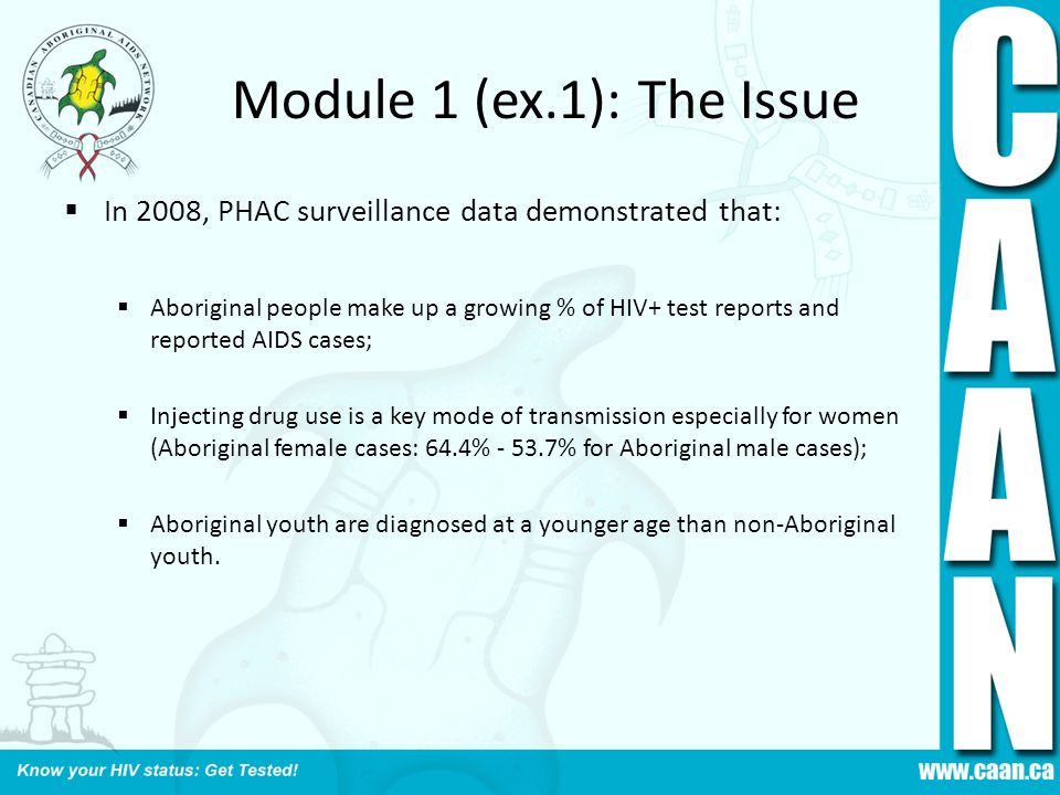 Module 1 (ex.1): The Issue In 2008, PHAC surveillance data demonstrated that: