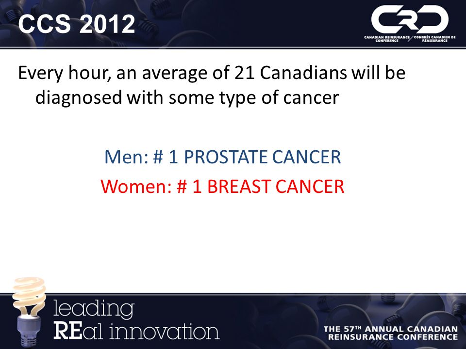 CCS 2012 Every hour, an average of 21 Canadians will be diagnosed with some type of cancer. Men: # 1 PROSTATE CANCER.