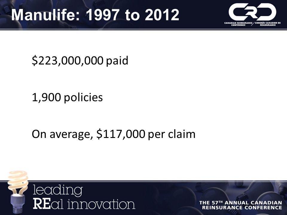 Manulife: 1997 to 2012 $223,000,000 paid 1,900 policies On average, $117,000 per claim