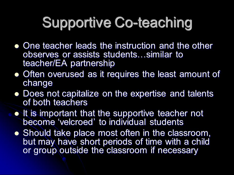 Supportive Co-teaching