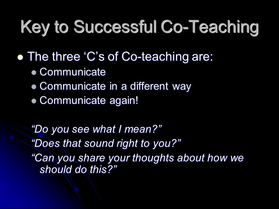 Key to Successful Co-Teaching