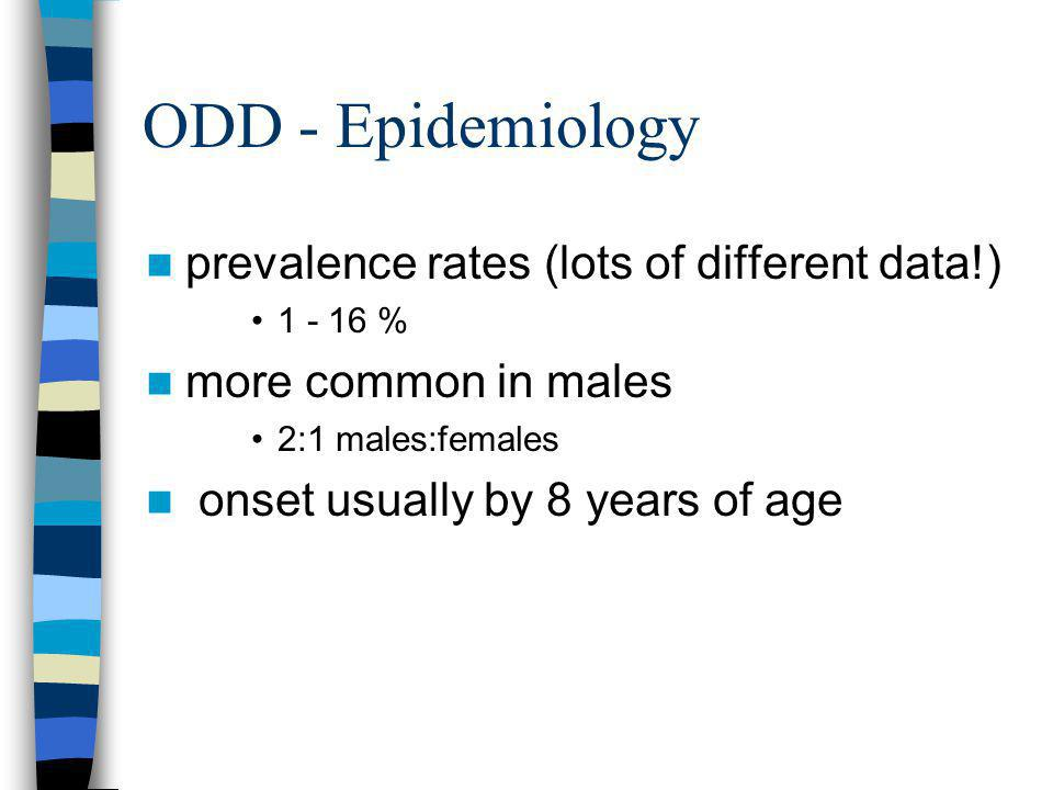 ODD - Epidemiology prevalence rates (lots of different data!)