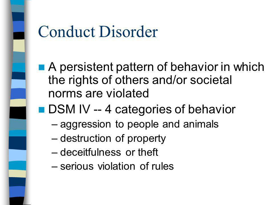 Conduct Disorder A persistent pattern of behavior in which the rights of others and/or societal norms are violated.