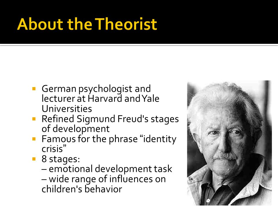 About the Theorist German psychologist and lecturer at Harvard and Yale Universities. Refined Sigmund Freud s stages of development.