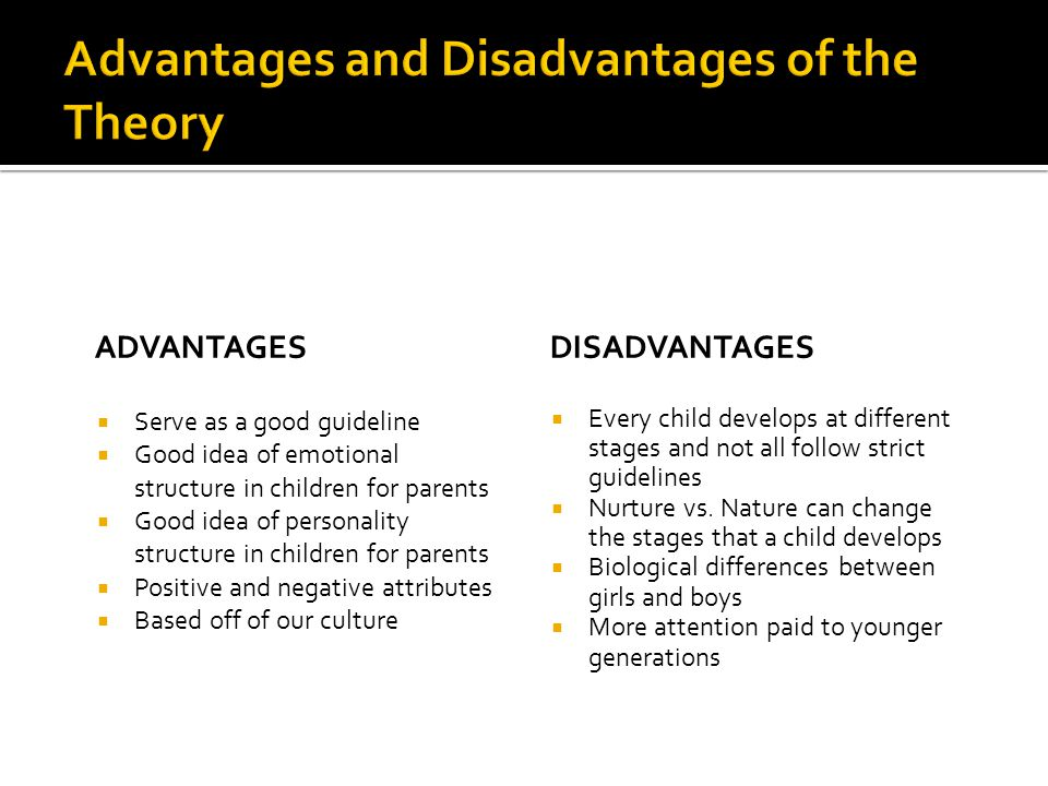 Advantages and Disadvantages of the Theory