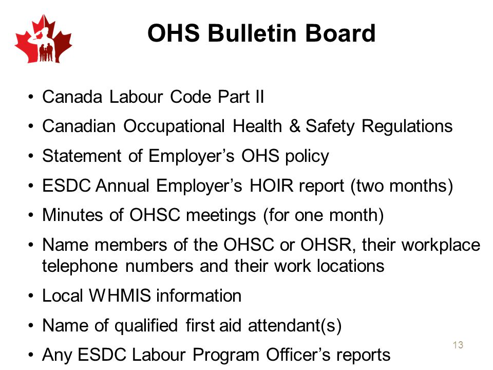 OHS Bulletin Board Canada Labour Code Part II