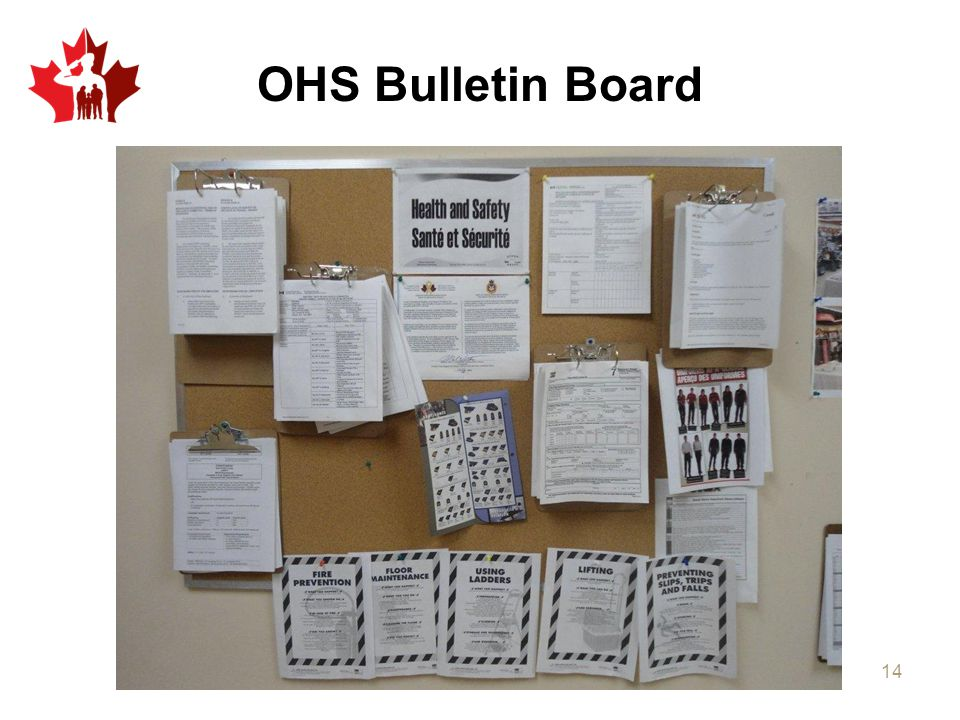 OHS Bulletin Board Typical example.