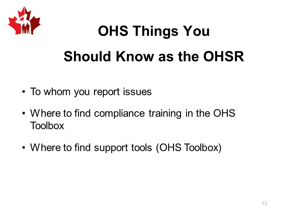 OHS Things You Should Know as the OHSR