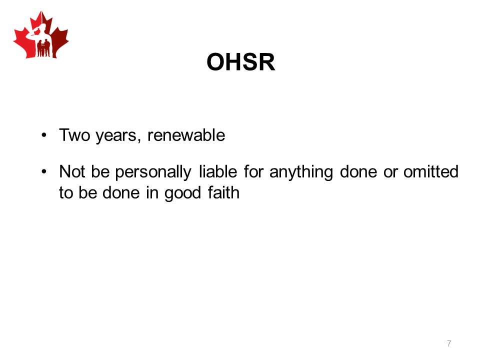 OHSR Two years, renewable