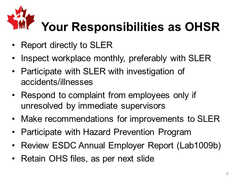 Your Responsibilities as OHSR
