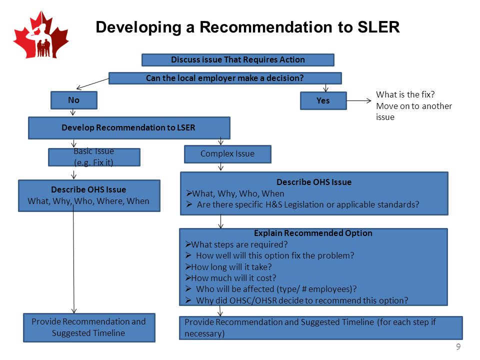 Developing a Recommendation to SLER