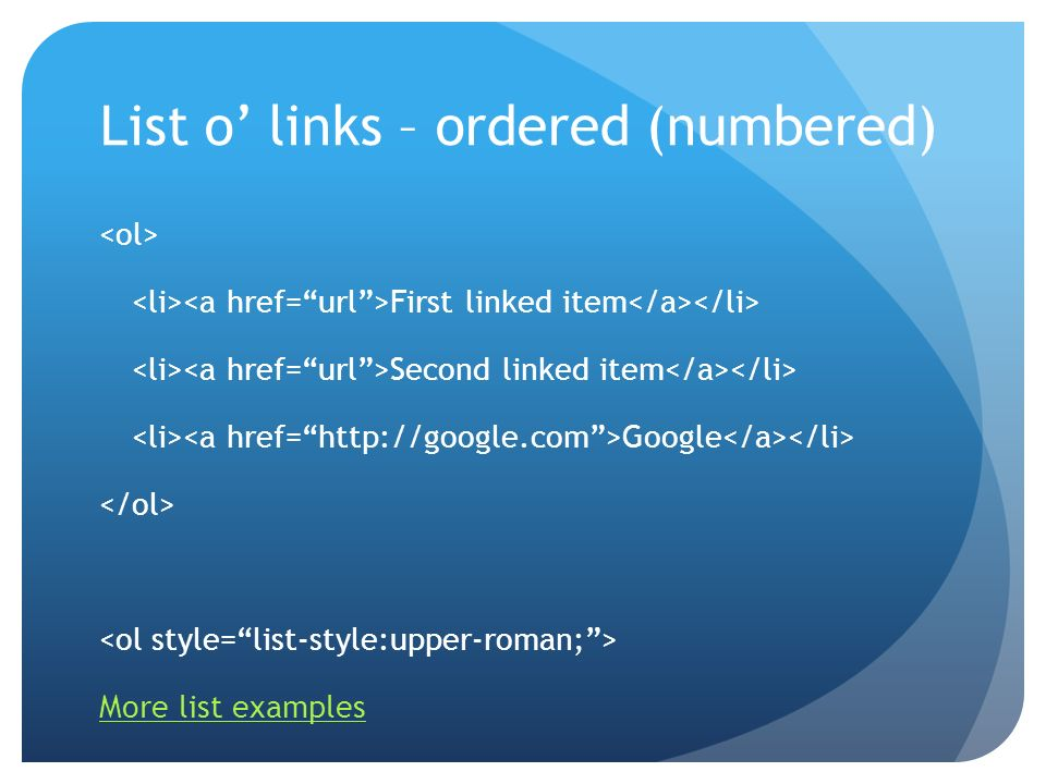 List o' links – ordered (numbered)