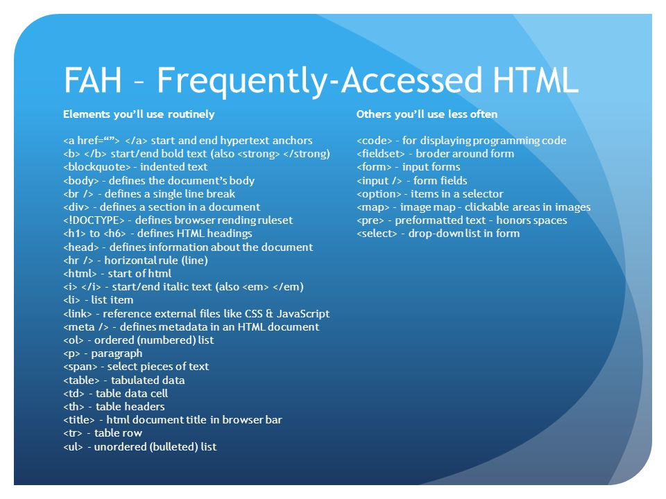 FAH – Frequently-Accessed HTML