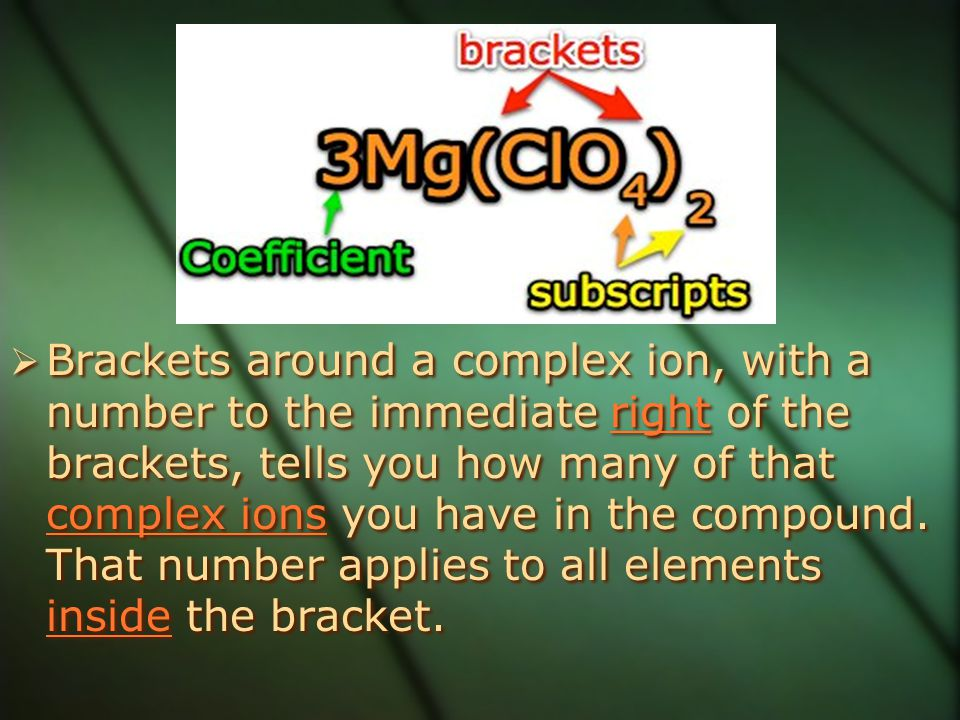 Brackets around a complex ion, with a number to the immediate right of the brackets, tells you how many of that complex ions you have in the compound.