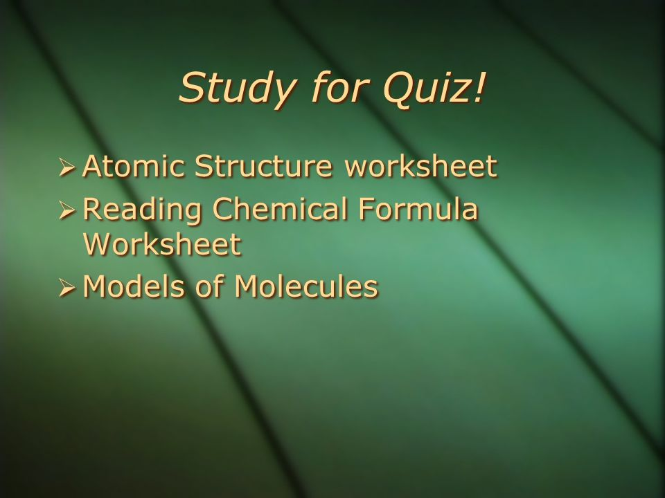 Study for Quiz! Atomic Structure worksheet