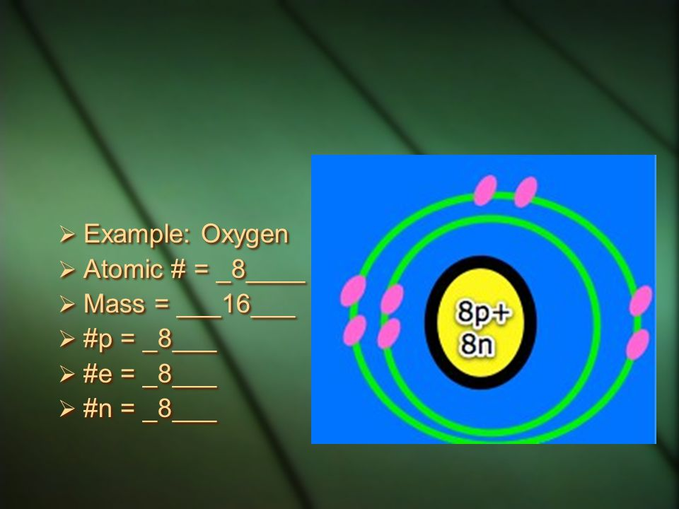 Example: Oxygen Atomic # = _8____ Mass = ___16___ #p = _8___ #e = _8___ #n = _8___