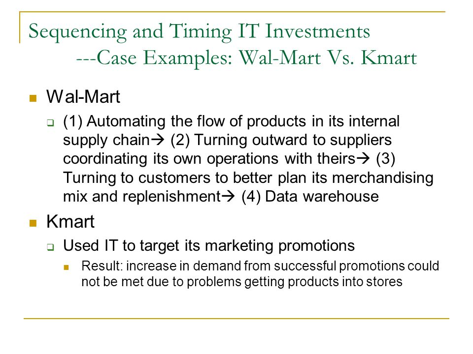 Sequencing and Timing IT Investments. ---Case Examples: Wal-Mart Vs