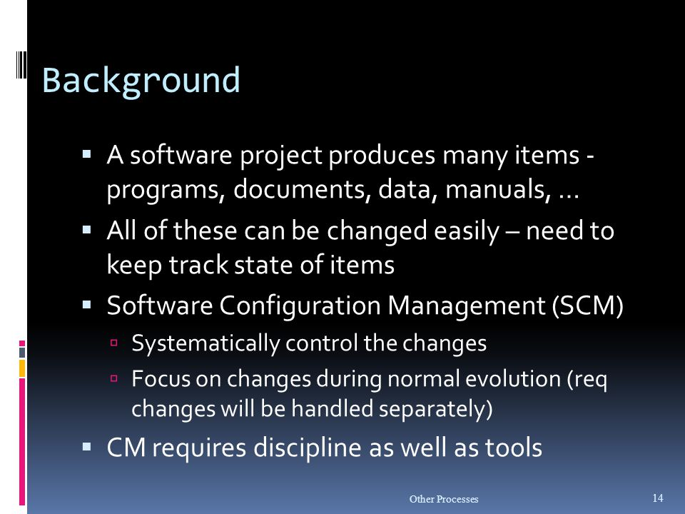 Background A software project produces many items - programs, documents, data, manuals, …