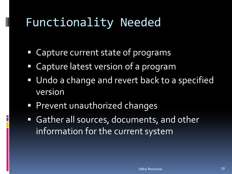 Functionality Needed Capture current state of programs