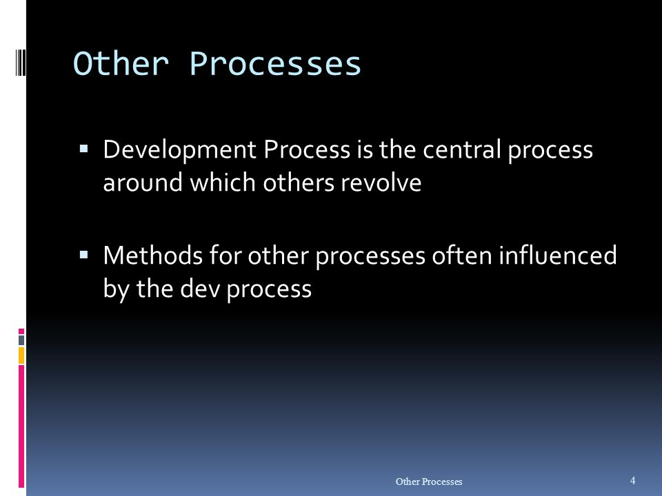 Other Processes Development Process is the central process around which others revolve.
