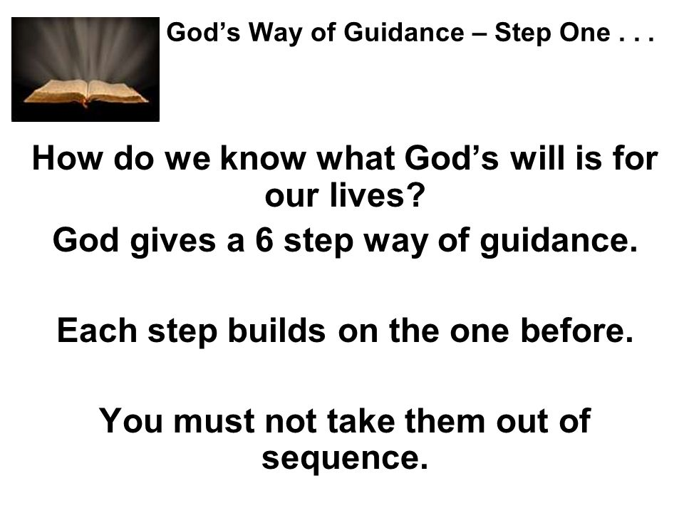 God's Way of Guidance – Step One . . .