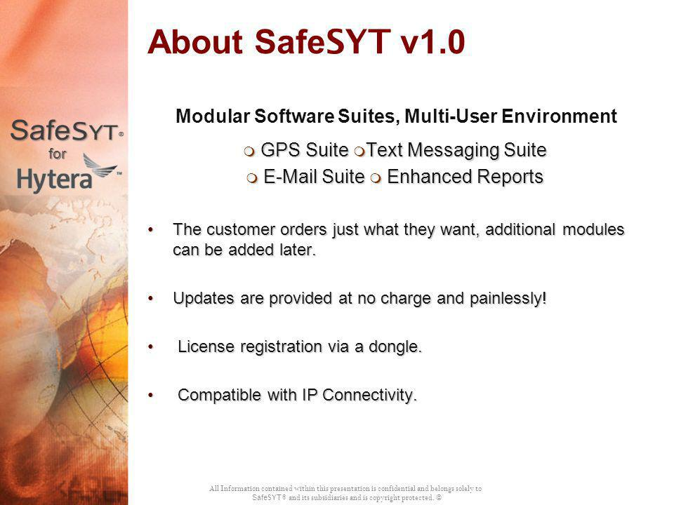 About SafeSYT v1.0 Modular Software Suites, Multi-User Environment