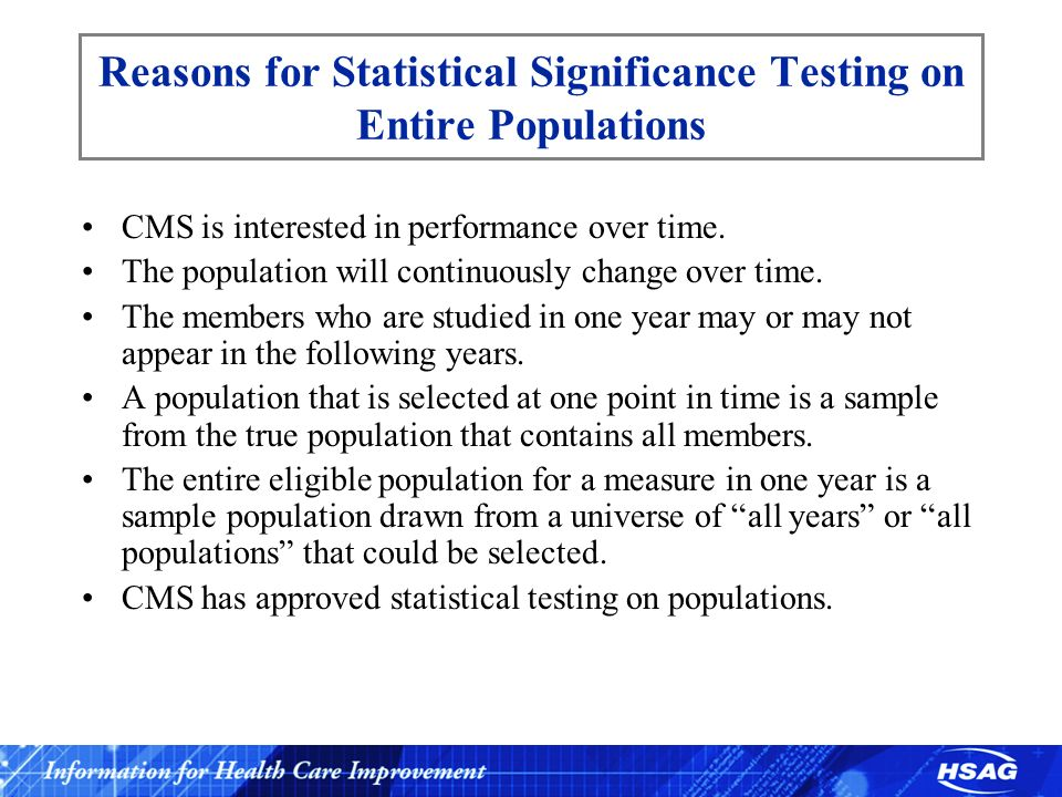 Reasons for Statistical Significance Testing on Entire Populations