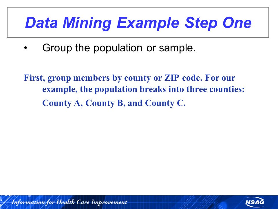 Data Mining Example Step One