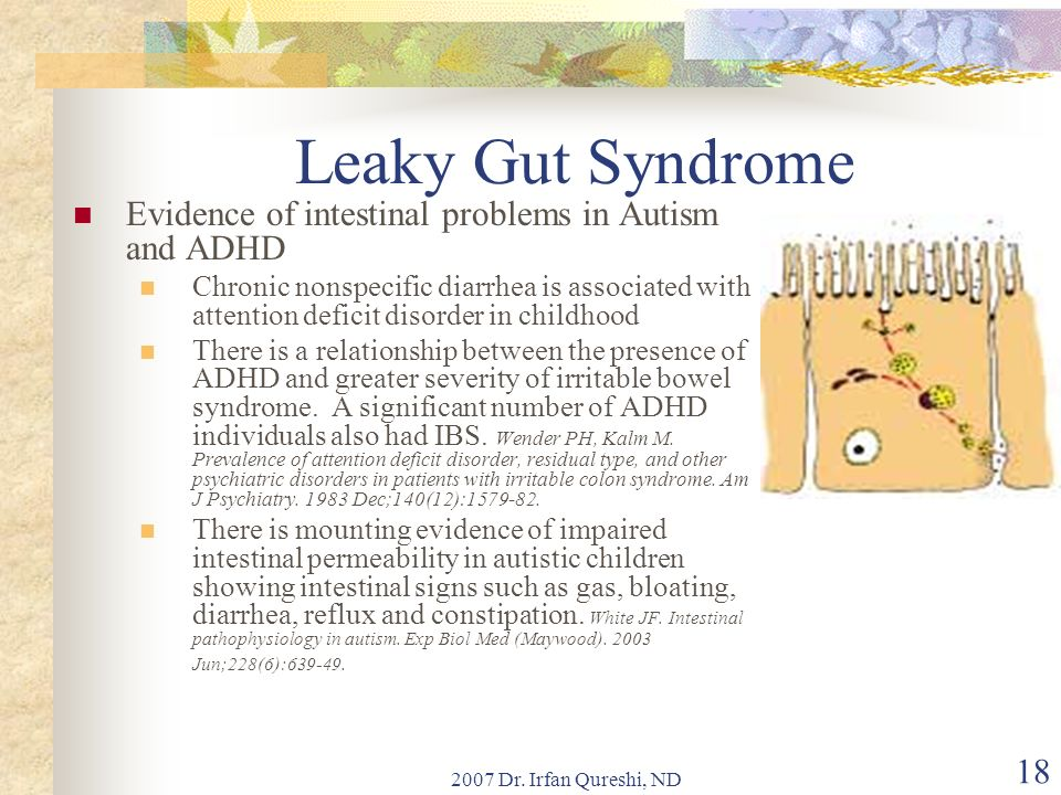 Leaky Gut Syndrome Evidence of intestinal problems in Autism and ADHD